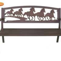Steel Framed Bench With Cast Iron Running Horse Motive