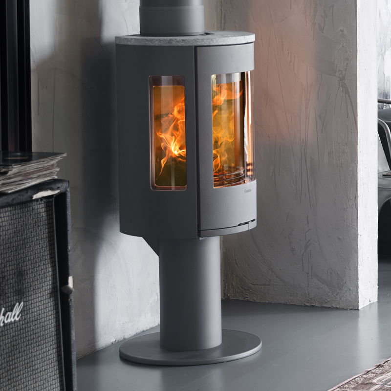Contura 586 style wood burning stove in grey