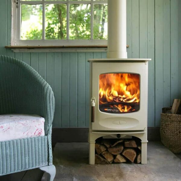 charnwood c four stove optional almond finish logstore