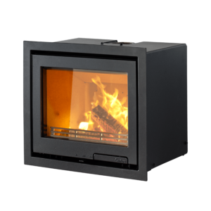 Contura i6 wood burning fire inset into the wall in black
