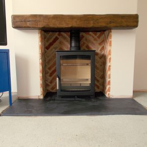 Parkray Aspect 5 Slate Hearth with rustic beam and smooth slate front and rear hearths