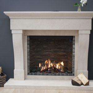 Bellfires Classic Bell balanced flue gas fire french stone fireplace