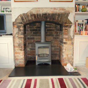Charnwood C-four wood buring stove in Gun Metal and smooth Slate Hearth
