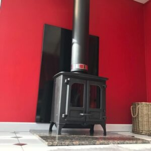 Charnwood Island 1 multifuel stove and twin wall flue installation