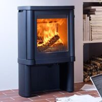 Contura 54 woodburner installed on red quarry tiles