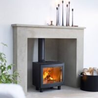 Contura i5L panorama installed in stone fireplace