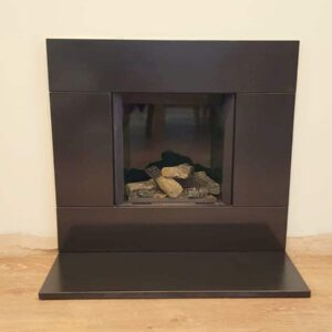 Gazco Riva 2 400 edge gas fire with slate frame and heath