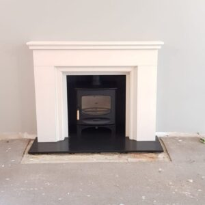 Charnwood C-Five woodburner with limestone surround