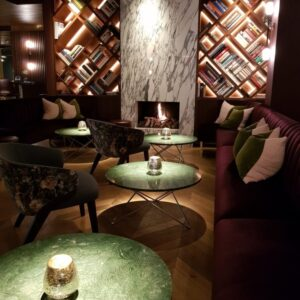 Large open gas fire in hotel bar