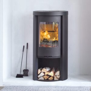 Contura 520 Style wood burning stove with a log store beneath in black
