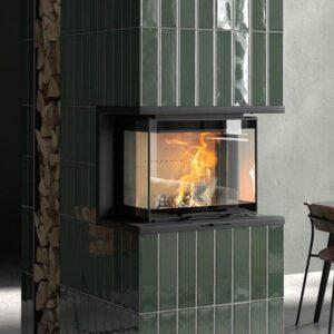 contura i60 wood burning fire insert built into a wall