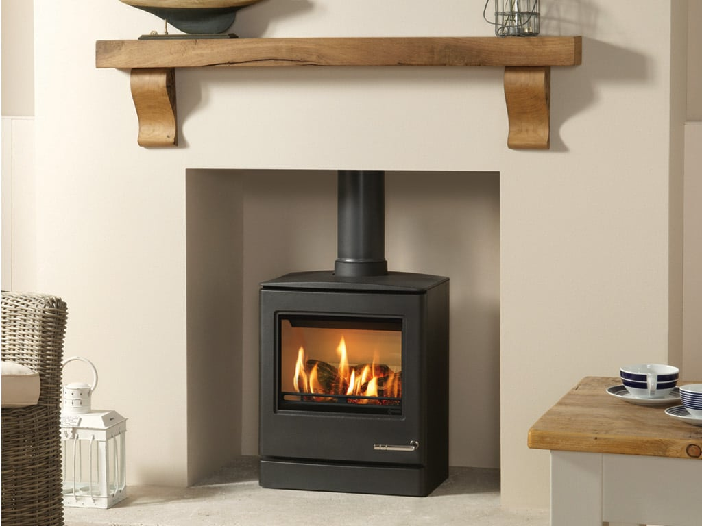 Wood feel Gas Stove in a living room with wooden Focus fireplaces shelf