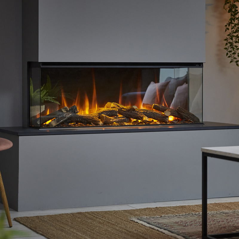 British Fires New Forest Electric Fire 1200 built into a wall in a living room