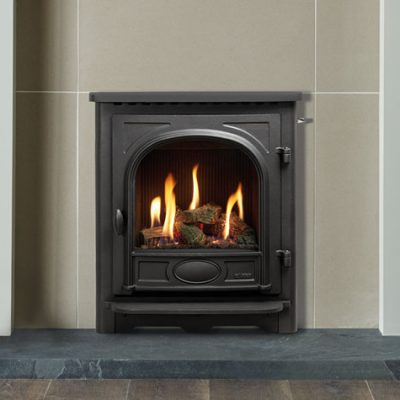 logic he cf slide control fire with log effect fuel bed shown with stockton front and grey brompton mantel lb 1 1