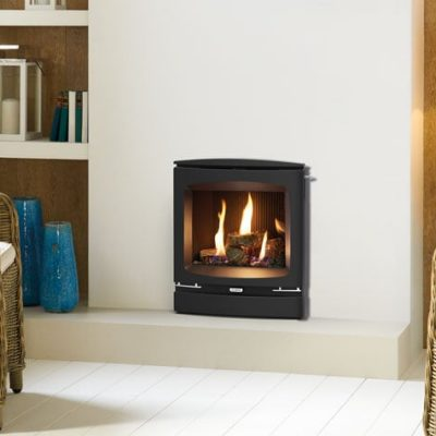 logic he cf with log effect fuel bed and vogue front with slide control mi