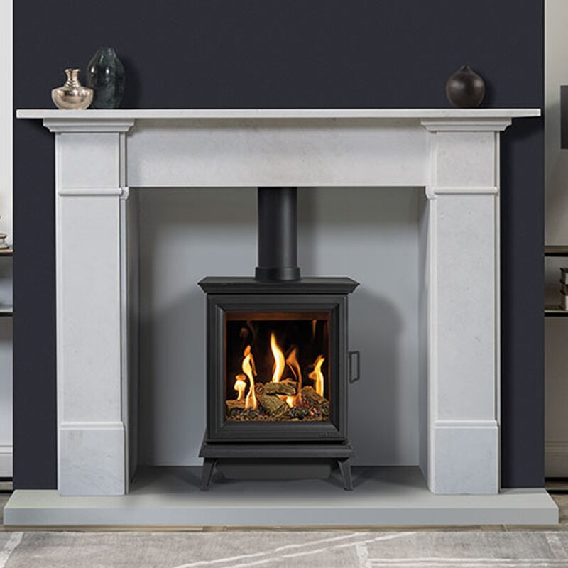 Gazco Sheraton 5 Gas Stove in a fireplace surround