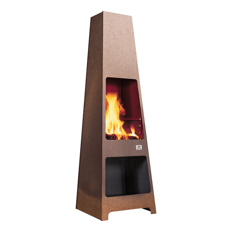 Jotul Loke wood stove outdoors burning