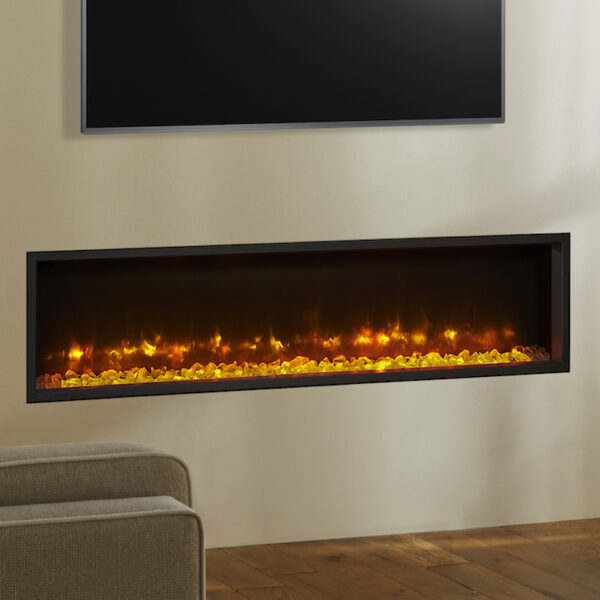 Gazco Radiance 135r Inset electric fire built into the wall with a television above