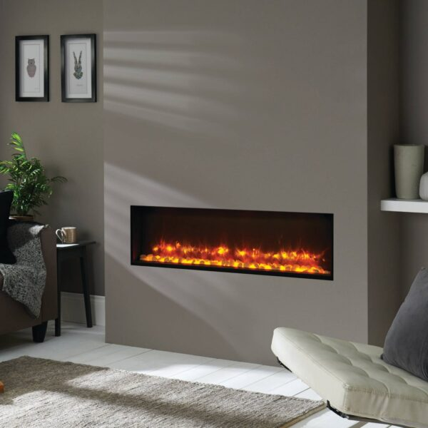 Gazco Radiance 105R electric fire built into the wall surrounded by a false chimney breast.