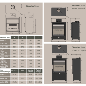Charlton & Jenrick Fireline 5kw wood burning stove dimensions for the free standing stove