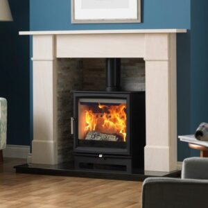 Charlton & Jenrick Fireline 5kw Woodtec Wide wood burning stove in a chamber