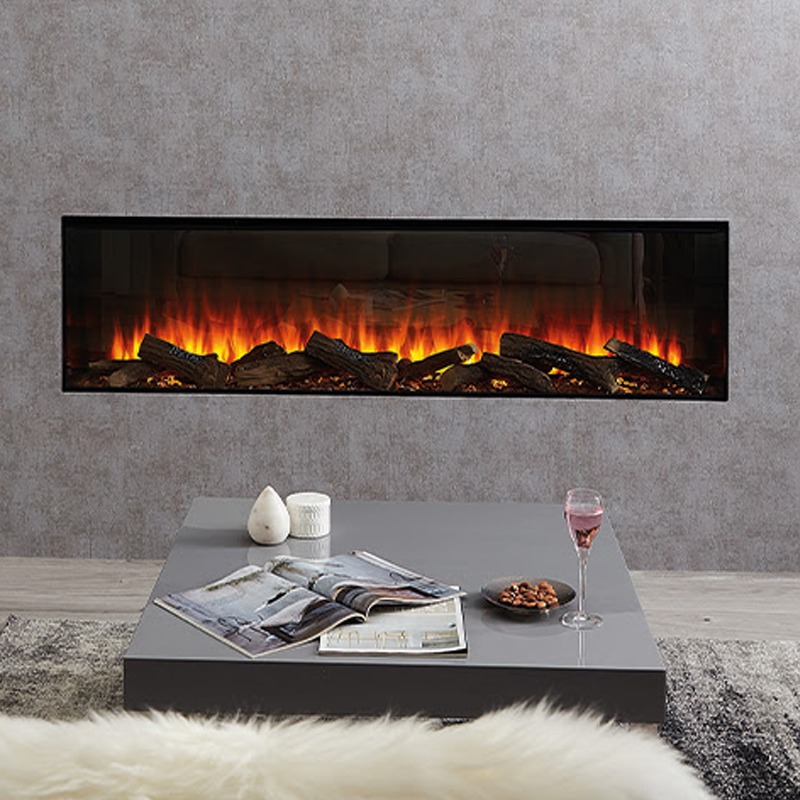 British Fires new forest 1600 electric fire in a living room with flames
